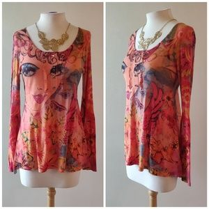 NY Collection   Multi Color Girl Gem Top